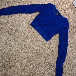 Blue lace halter top S